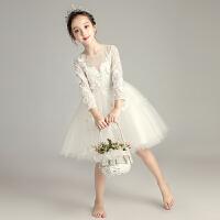 女童白纱公主裙长袖小花童婚纱裙蓬蓬纱儿童钢琴演出服生日晚礼服