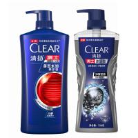 【】清扬男士洗发沐浴套装 多效水润650ml+净澈控油720g
