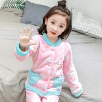 女童珊瑚绒加绒套装冬季法兰绒女孩儿童小孩睡衣冬天加厚