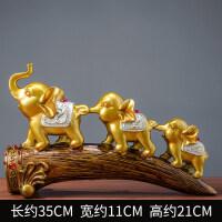祥礼 大象客厅酒柜电视柜摆件创意家居玄关装饰品三只小象摆设 金色三连象