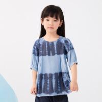 【1件秒杀价:160】马拉丁童装女大童衬衫2020夏装新款印花图案宽松短袖衬衫上衣