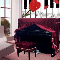 意式加厚丝绒钢琴罩全罩布艺琴套防尘凳罩欧式简约现代k