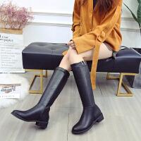 长靴子女冬2018新品韩版百搭潮小辣椒粗跟加绒长筒靴高靴女靴 黑色