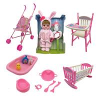 儿童玩具推车女孩过家家玩具带洋娃娃手推车折叠宝宝小推车 粉兔子娃娃大套装 如图所示