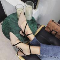 单鞋女2019新款尖头浅口粗跟交叉绑带后空高跟鞋韩版气质百搭女鞋