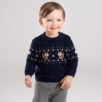 【加绒】davebella戴维贝拉2019冬季新款男童套头针织衫DB11776