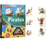 英文原版绘本 Pirates 精装 磁铁操作书 含45个磁铁配件 儿童益智游戏科普书 边玩边学 Twirl 法国艺术品