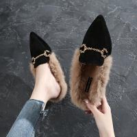 BANGDE秋韩版时尚兔毛豆豆女鞋尖头低跟单鞋3CM毛毛鞋百搭瓢鞋拖