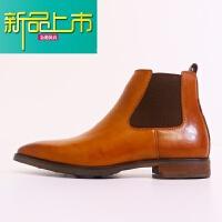 新品上市英伦牛皮手工擦色商务男士高帮皮鞋尖头靴男加绒真皮短靴子
