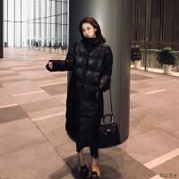 黑色90白鸭绒羽绒服女冬季2018新款中长款立领过膝外套 黑色