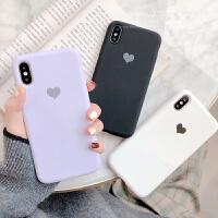 紫色爱心苹果X手机壳iphone xs max女6s纯色液态硅胶7 8plus情侣 iPhone Xs Max【紫色】