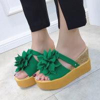 厚底花朵凉鞋坡跟女拖鞋夏季新款韩版时尚外穿跟凉拖松糕底潮