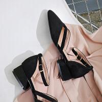 夏季新款方头一字扣单鞋中跟玛丽珍女鞋休闲学生罗马凉鞋