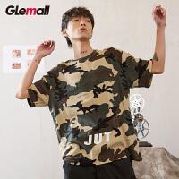 森马旗下潮牌GLEMALL 迷彩男T恤宽松韩版迷彩军绿短袖字母印花街头潮酷