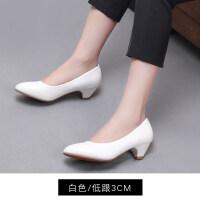 职业高跟鞋女礼仪尖头浅口单鞋白色中跟细跟空乘空姐鞋正装工作