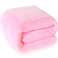 三利 高梳纱柔软舒适浴巾80×180cm 粉色 不掉毛强吸水裹身巾
