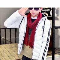 新款时尚保暖纯色外套韩版学生连帽男士休闲棉衣潮男