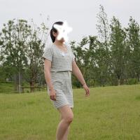 针织棉中长款孕妇夏装连衣裙宽松孕妇装秋装套装时尚款中长哺乳裙