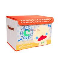 有盖收纳盒 刺绣卡通收纳箱 可擦洗整理箱|百纳箱 橙盖 小鸭子