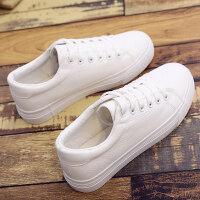 小白鞋女厚底松糕白色帆布鞋增高学生夏韩版百搭板鞋2018新款秋季