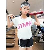 女童运动套装夏装中大童儿童短袖速干衣健身户外跑步服宽松两件套