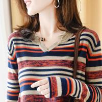 棉麻韩版女长袖秋装2019新款宽松条纹时尚内搭薄款针织上衣打底衫