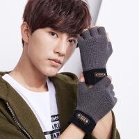 半指手套男冬季加绒保暖韩版学生写字半截漏指无指针织潮