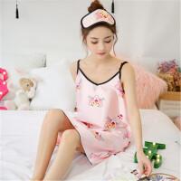 茉蒂菲莉 冰丝睡裙 女夏季仿真丝绸薄款韩版卡通樱桃家居服吊带裙睡衣