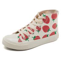 草莓高帮帆布鞋女学生韩版百搭复古港味2019春季板鞋ulzzang