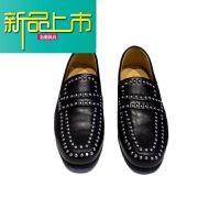 新品上市韩国男鞋夏新款软面皮豆豆鞋英伦复古铆钉一脚蹬真皮懒人套脚鞋潮