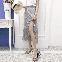 一片式半身裙夏不规则系带中长裹裙高腰显瘦仙女沙滩雪纺碎花长裙