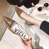 尖头单鞋女2019新款时尚浅口低跟花纹时尚女鞋一脚蹬休闲单鞋女鞋