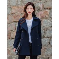 新年特惠短款风衣女2019春秋新款韩版宽松系带双排扣小个子外套 藏青色