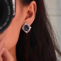 女士复古耳钉韩版蓝水晶无洞耳夹女款时尚耳饰耳饰