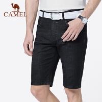骆驼男装 2019夏季新款男士牛仔短裤青年直筒轻薄黑牛仔五分裤男
