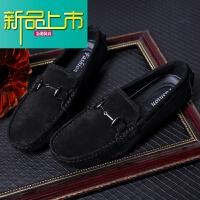 新品上市男士豆豆鞋男19新款英伦真皮潮流韩版个性百搭磨砂懒人休闲皮鞋