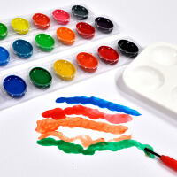 儿童涂鸦绘画水粉颜料24色固体粉饼可水洗半干水彩