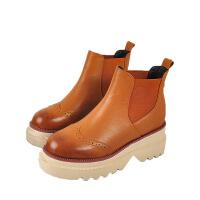 复古真皮纯色马丁靴尖头皮靴女鞋子秋冬加绒平底单靴切尔西短靴子 金色