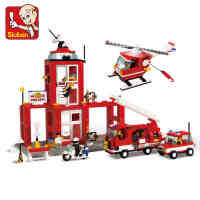 小鲁班积木城市模拟拼装玩具紧急消防局模型儿童男孩启蒙益智玩具
