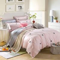 全棉四件套斜纹纯棉被套双人床单床笠款秋1.5米1.8m床上用品 乳白色 蒲公英