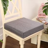 加厚亚麻坐垫椅垫增高海绵芯中高密度沙发飘窗餐椅可拆洗防滑定做y 浅灰色 加厚亚麻