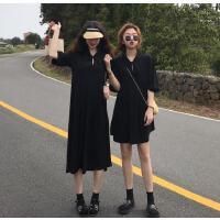 连衣裙女夏季2019新款韩版学生收褶设计一粒扣闺蜜短/长款娃娃裙 均码