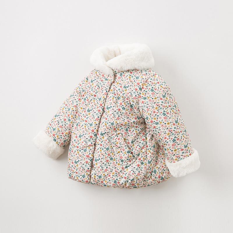 davebella戴维贝拉童装冬新款女童棉服宝宝碎花加绒棉衣DBQ11696