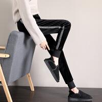 金丝绒裤子女宽松束脚秋冬季新款加绒加厚韩版哈伦休闲运动裤
