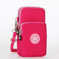 柠朵新款多功能跑步手腕包手机包女单肩斜跨大号6寸零钱包 红色 手腕包
