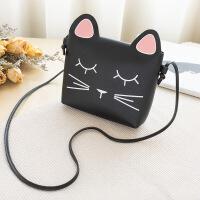 可爱猫咪小方包清新印花单肩女包时尚百搭个性手机斜挎包