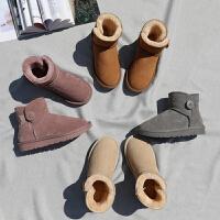 牛皮雪地靴女磨砂牛皮显瘦棉鞋滑加厚加绒短款棉鞋