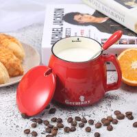 陶瓷马克杯带盖勺定制logo简约创意早餐杯文艺个性潮流咖啡杯子