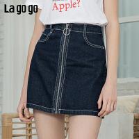 【清仓5折价131】lagogo2019春季新款裙子牛仔短裙港味a字包臀半身裙女IABB132A41