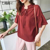 七格格雪纺衬衫女韩版宽松娃娃衫2019新款夏季短袖上衣洋气衬衣潮